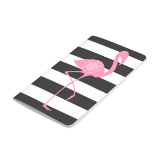 Mit Monogramm rosa Flamingo + Schwarzes + Weiße Taschennotizbuch