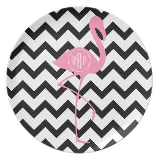 Mit Monogramm rosa Flamingo + Schwarzes Zickzack Flache Teller