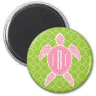 Mit Monogramm rosa Seeschildkröte-Grün Quatrefoil Runder Magnet 5,1 Cm
