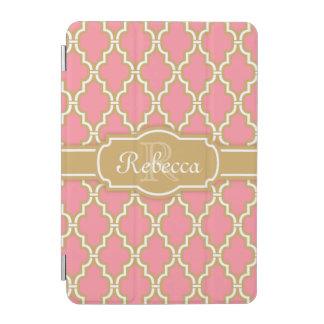 Mit Monogramm Rosa-und Goldgitter-Muster iPad Mini Cover