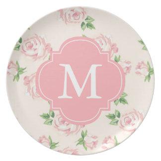 Mit Monogramm rosa Vintages Rosen-Muster Flacher Teller