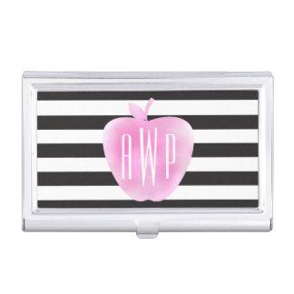 Mit Monogramm rosa Watercolor Apple + Streifen Visitenkarten Etui