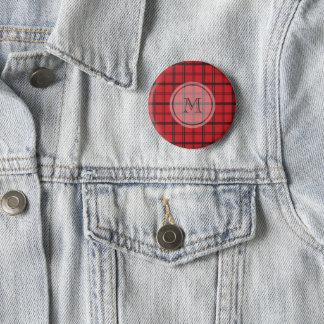Mit Monogramm roter und schwarzer Tartan kariert Runder Button 5,7 Cm