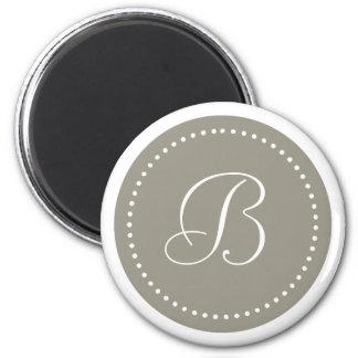 Mit Monogramm rundes Aluminium/weiße Punkt-Grenze Runder Magnet 5,1 Cm
