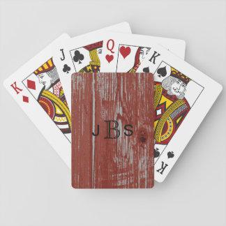 Mit Monogramm Scheunen-Holz-Korn der Initialen-  Spielkarten