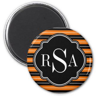 Mit Monogramm Schwarz-weißes orange gestreiftes Runder Magnet 5,7 Cm