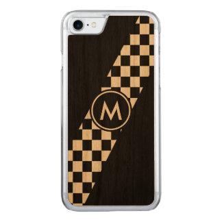 Mit Monogramm schwarze Diagonale, die Karos läuft Carved iPhone 8/7 Hülle