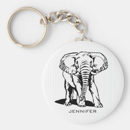 Mit Monogramm schwarzer Elefant Standard Runder Schlüsselanhänger