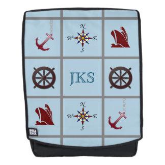 Mit Monogramm Seesymbole auf Blau Rucksack