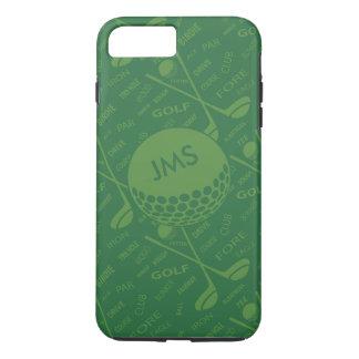 Mit Monogramm subtiles Golfspieler-Muster iPhone 8 Plus/7 Plus Hülle