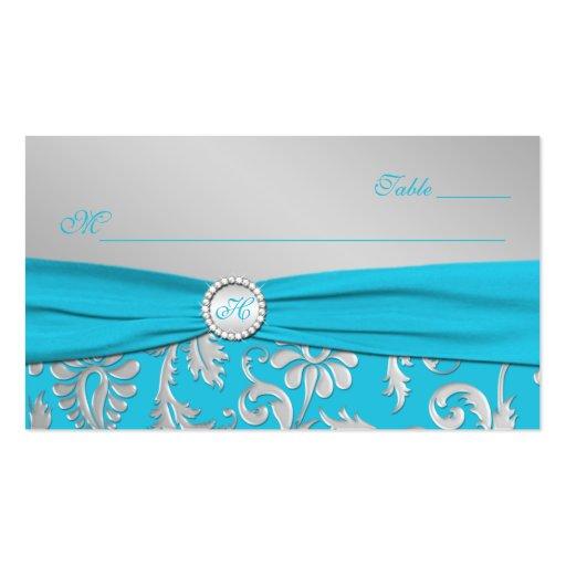 Mit Monogramm Türkis-und Silber-Platzkarten Visitenkarten