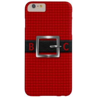 Mit Monogramm verzogener schwarzer Gurt auf rotem Barely There iPhone 6 Plus Hülle