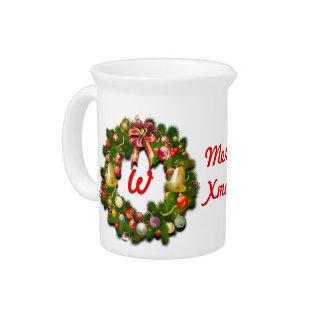 Mit Monogramm WeihnachtsWreath Getränke Pitcher