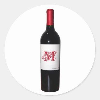 Mit Monogramm Wein-Flaschen-Aufkleber Runder Aufkleber