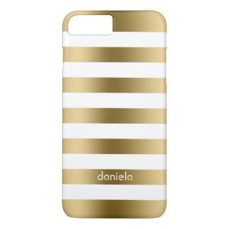 Mit Monogramm weiße geometrische Streifen iPhone 8 Plus/7 Plus Hülle