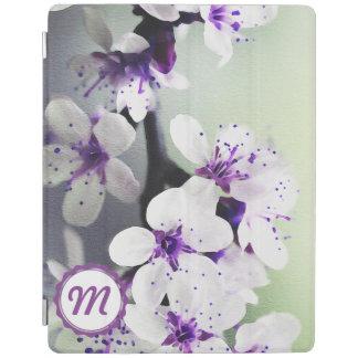 Mit Monogramm weiße und lila Blüte iPad Abdeckung iPad Hülle