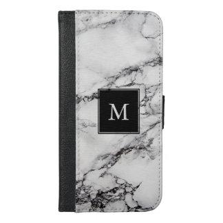 Mit Monogramm weißer und grauer gestreifter iPhone 6/6s Plus Geldbeutel Hülle