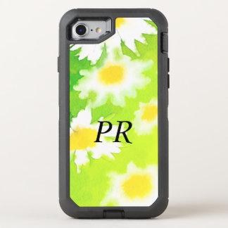 Mit Monogramm weißes GänseblümchenblumenWatercolor OtterBox Defender iPhone 8/7 Hülle
