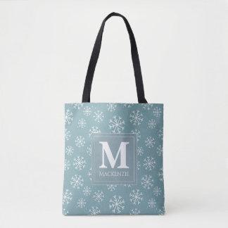 Mit Monogramm Winter-Schneeflocke-Feiertag Tasche
