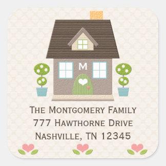 Mit Monogramm Zuhause-Adressen-Aufkleber Quadratischer Aufkleber