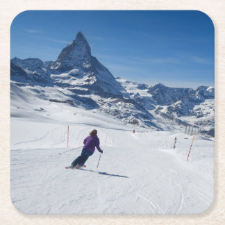 Mit Mt. Matterhorn in Zermatt Ski fahren, die Rechteckiger Pappuntersetzer