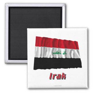 MIT Namen des Iraks Fliegende Flagge Quadratischer Magnet