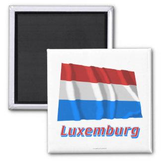 MIT Namen Luxemburgs Fliegende Flagge Quadratischer Magnet