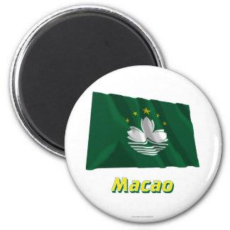 MIT Namen Macaos Fliegende Flagge Runder Magnet 5,7 Cm