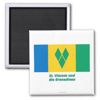 MIT Namen St. Vincent Flagge Quadratischer Magnet