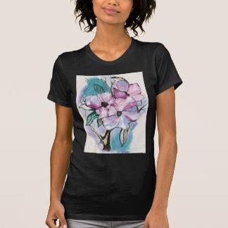 Mit Tinte geschwärzte Blumen T-Shirt