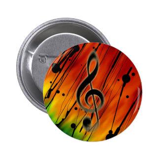 Mit Tinte geschwärzte Musik Runder Button 5,1 Cm
