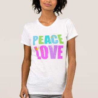 Mit Tinte geschwärzter Frieden und Liebe T-Shirt