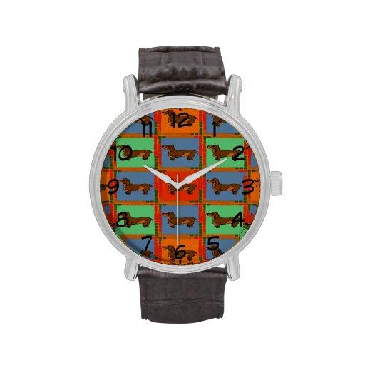 Mit Ziegeln gedeckte Dackel abstrakt Uhr