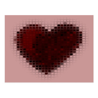 Mit Ziegeln gedeckte Mosaik-Herzen (tiefrot) Postkarte