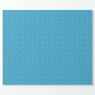 Mit Ziegeln gedecktes blaues glückliches Gesicht Geschenkpapier