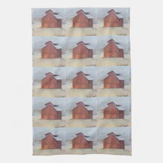 Mit Ziegeln gedecktes rotes Scheunen-Geschirrtuch Küchentuch