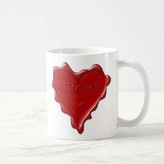 Mitchell. Rotes Herzwachs-Siegel mit Kaffeetasse