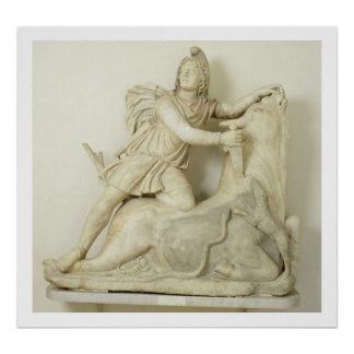 Mithras das den Stier Marmorentlastung römisch Posterdrucke