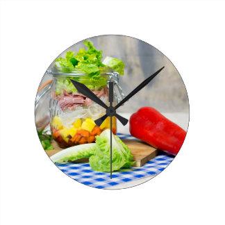 Mittagessen in einem Glas Runde Wanduhr