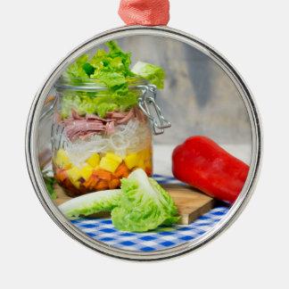 Mittagessen in einem Glas Rundes Silberfarbenes Ornament