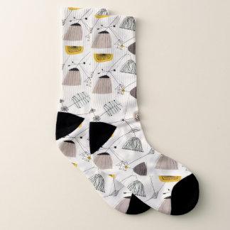 Mitte des Jahrhunderts modern, Retro, schwarz, Socken