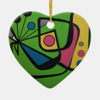 """Mitte des Jahrhunderts modernes abstraktes #4"" Keramik Herz-Ornament"