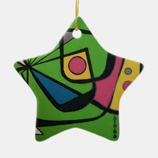 """Mitte des Jahrhunderts modernes abstraktes Keramik Stern-Ornament"