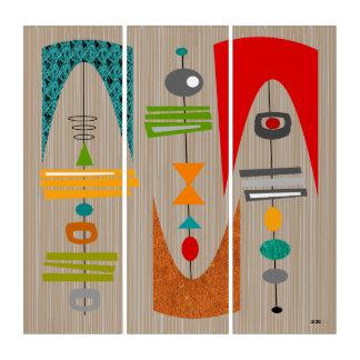 Mitte des Jahrhunderts modernes Tiki Tok Triptychon