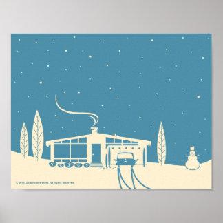 Mitte des Jahrhunderts Snowscene-Blau Poster