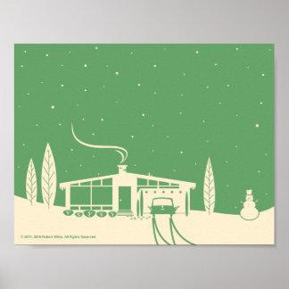 Mitte des Jahrhunderts Snowscene-Grün Poster