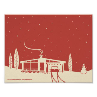 Mitte des Jahrhunderts Snowscene-Rot Poster