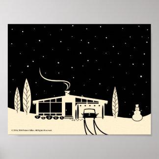 Mitte des Jahrhunderts Snowscene-Schwarz Poster