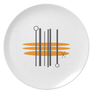 Mitte- des Jahrhundertsdruck-Abendessen-Teller Teller