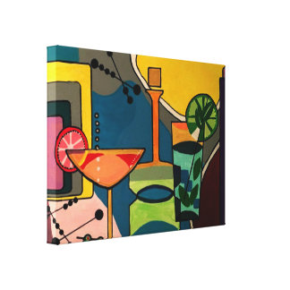 """""""Mitte- des JahrhundertsMod-Cocktail"""" Malerei auf Leinwanddruck"""